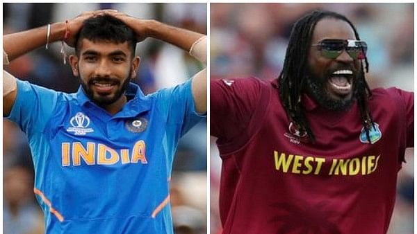 Jasprit Bumrah (L) and Chris Gayle (R)