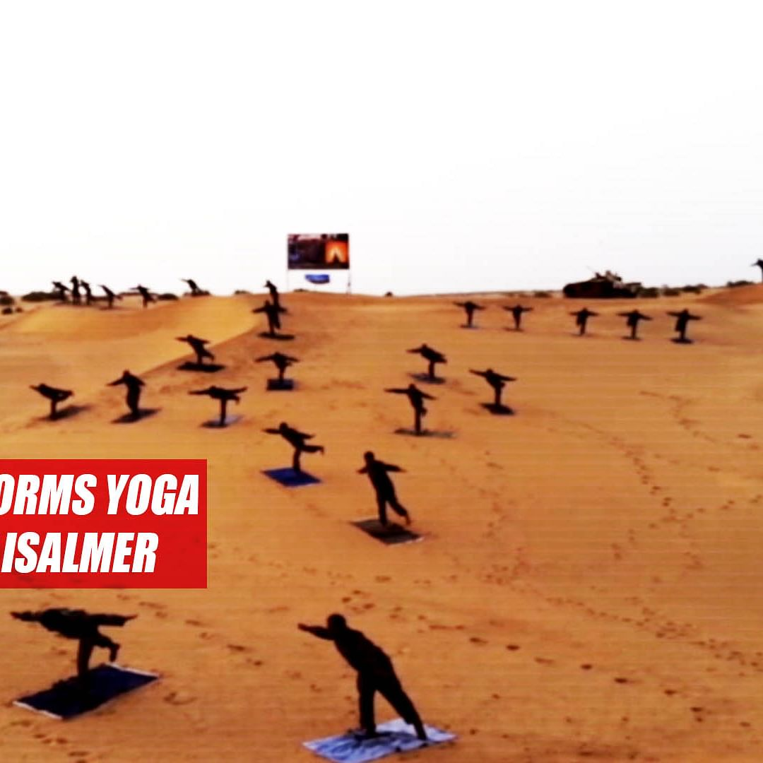 Indian Army performs yoga on sand dunes of Jaisalmer