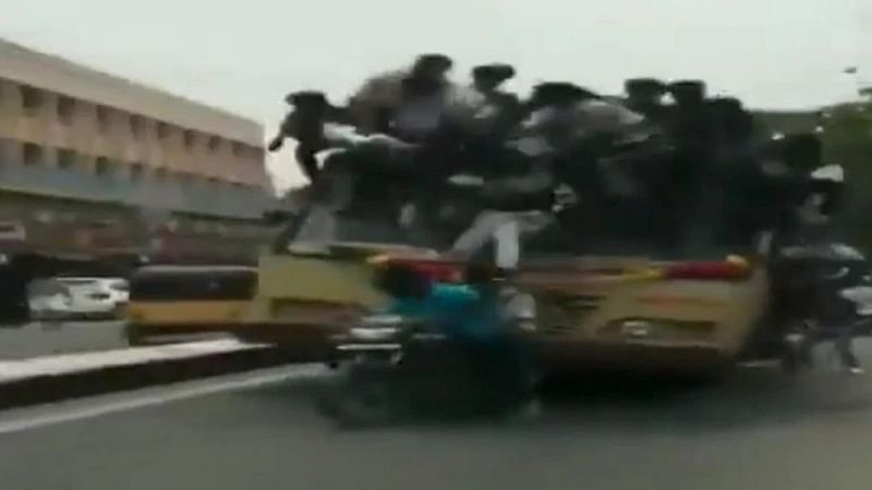 Chennai: Students fall off overcrowded bus like ninepins during 'Bus Day' celebrations, 24 detained