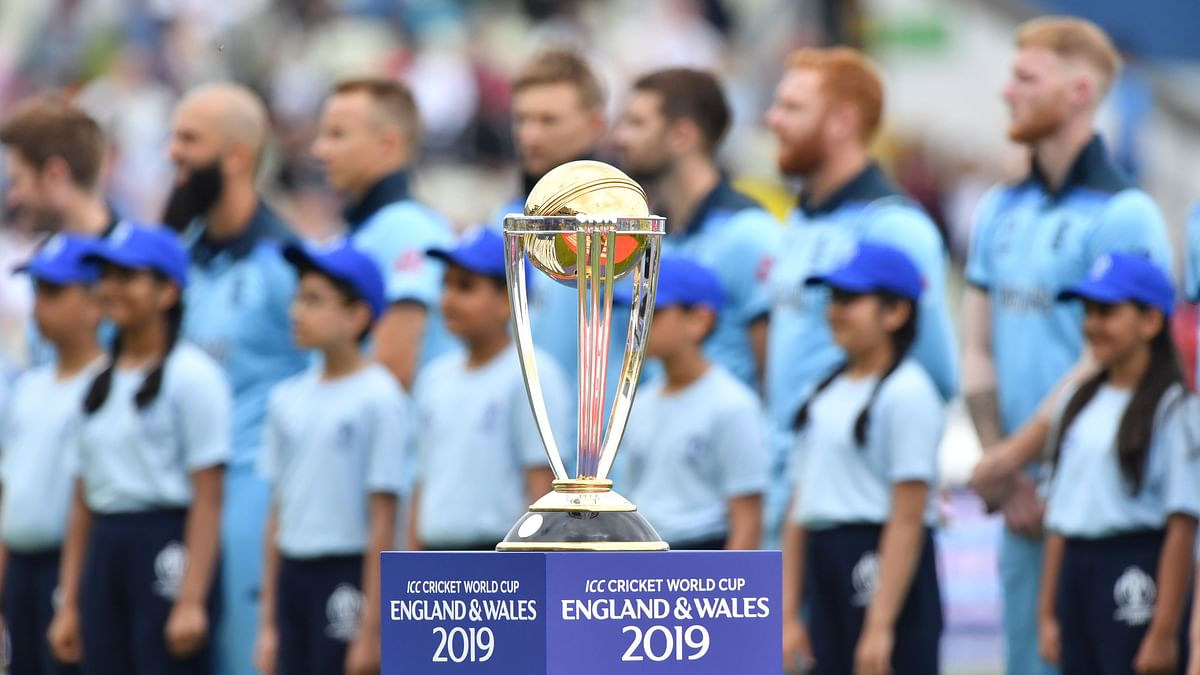 The winner's trophy is pictured before the start of the 2019 Cricket World Cup second semi-final between England and Australia at Edgbaston in Birmingham, central England,  on July 11, 2019.