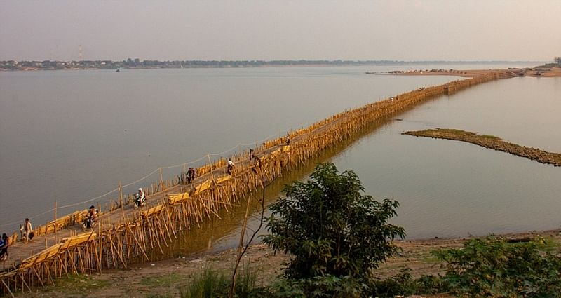 Bridge rebuilt with bamboos