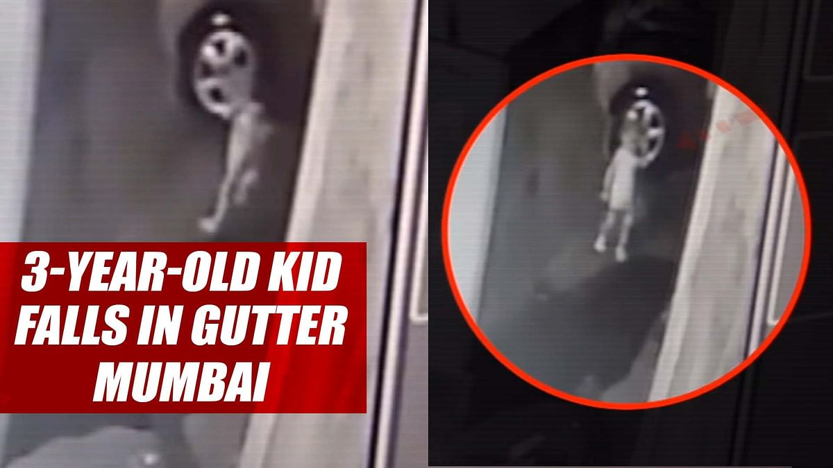 Watch: 3 year old kid falls in gutter in Mumbai