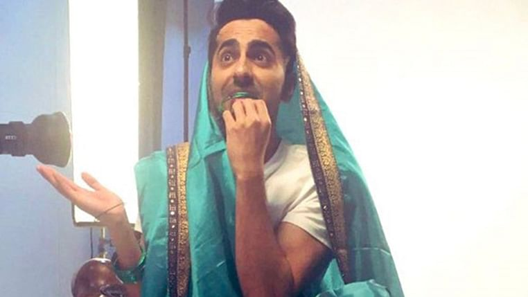 Ayushmann Khurrana takes on the #SareeTwitter challenge with twist, shares a glimpse of his next