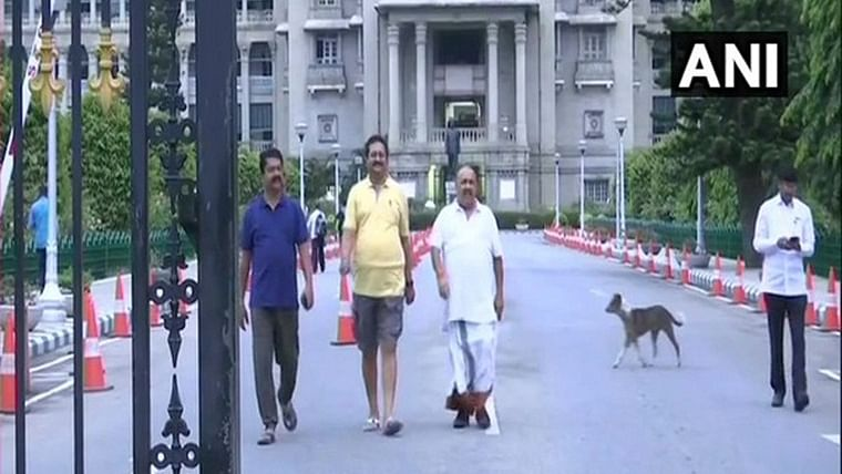 After night-long dharna inside house, BJP lawmakers take morning walk around Vidhana Soudha