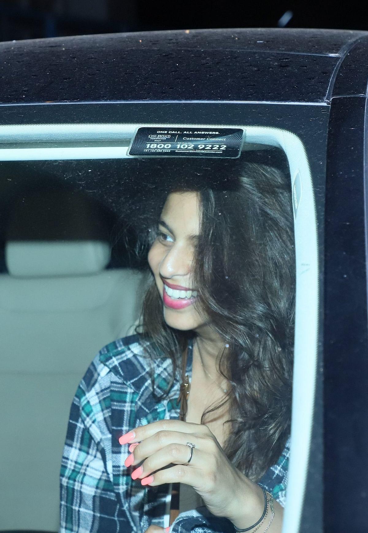 Suhana Khan snapped outside the Sanjay Kapoor's residence.