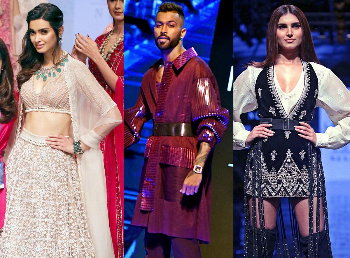 Cricketer Hardik Pandya walked the ramp for designer Amit Aggarwal with Lisa Haydon for his luxury pret collection called 'Flux'.