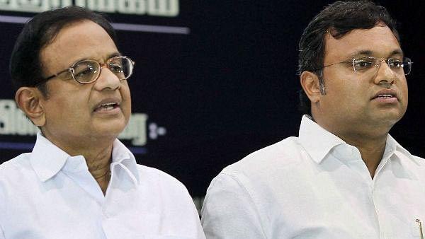 P Chidambaram with son Karti Chidambaram