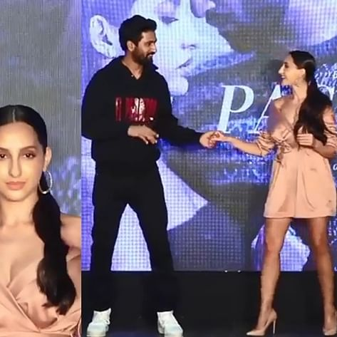 Oops! Nora Fatehi suffers wardrobe malfunction while on stage with Vicky Kaushal