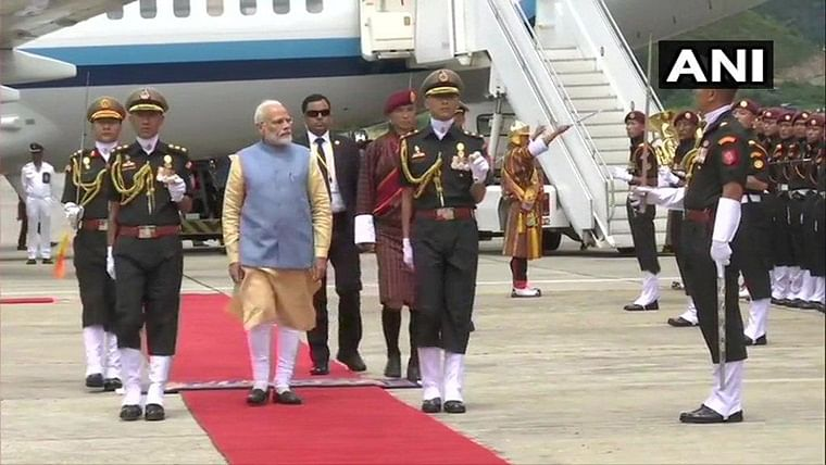 PM Narendra Modi arrives in Bhutan on two-day visit, receives Guard of Honour