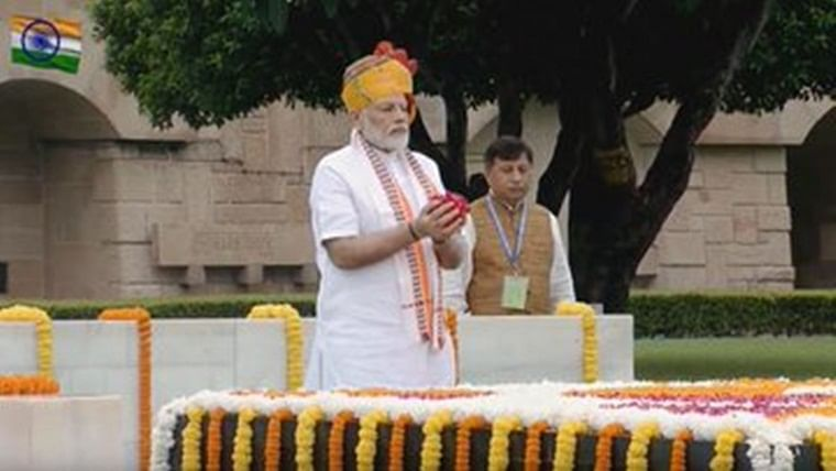PM Narendra Modi pays homage to Mahatma Gandhi at Rajghat on Independence Day