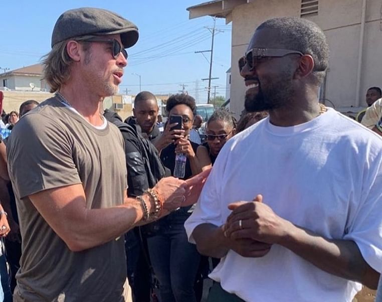 Brad Pitt attends Kanye West's Sunday Service