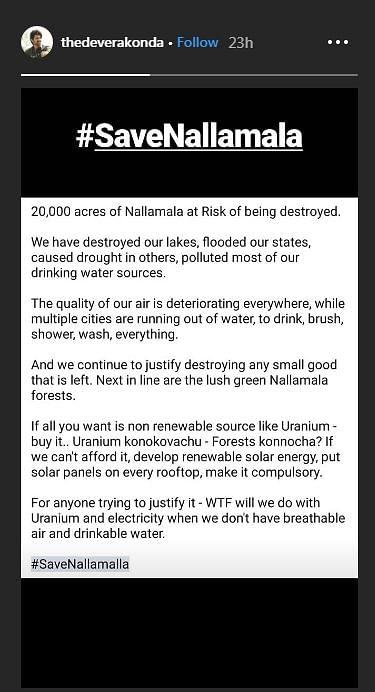 We can buy Uranium, but can we buy forests? Vijay Devarakonda fights to save Nallamalla