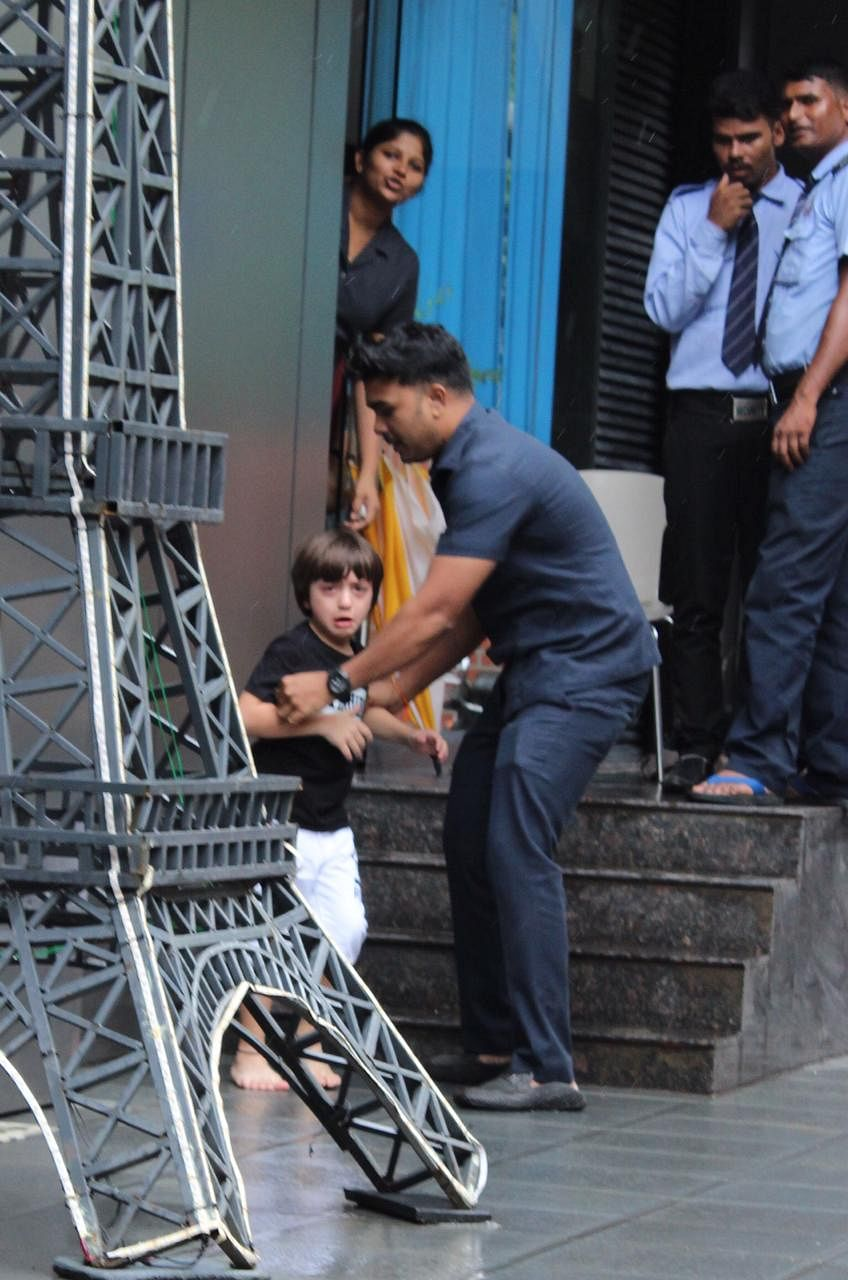 Shah Rukh Khan's youngest, AbRam Khan was spotted at play school in Juhu.