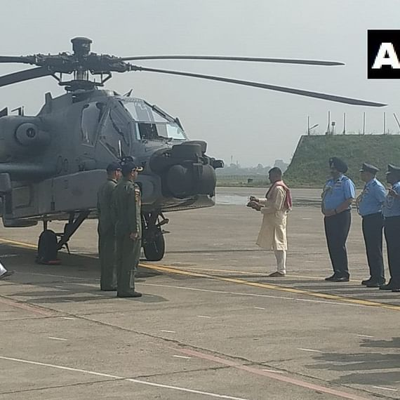 Eight US-made Apache attack helicopters inducted into Indian Air Force at Pathankot