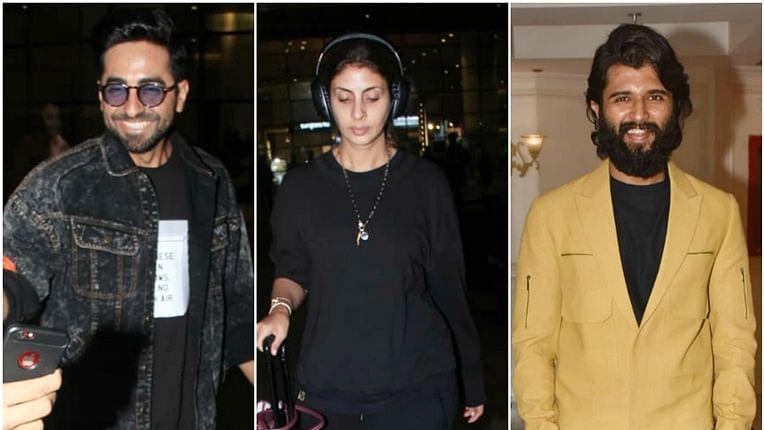 Ayushmann Khurrana, Shweta Bachchan, Vijay Deverakonda spotted despite Mumbai rains