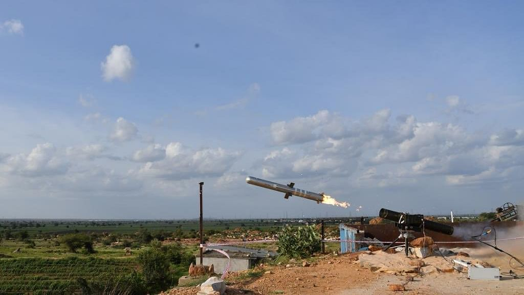 Test fire of the indigenously developed low weight, fire and forget Man Portable Antitank Guided Missile (MPATGM) in the ranges of Kurnool, Andhra Pradesh.