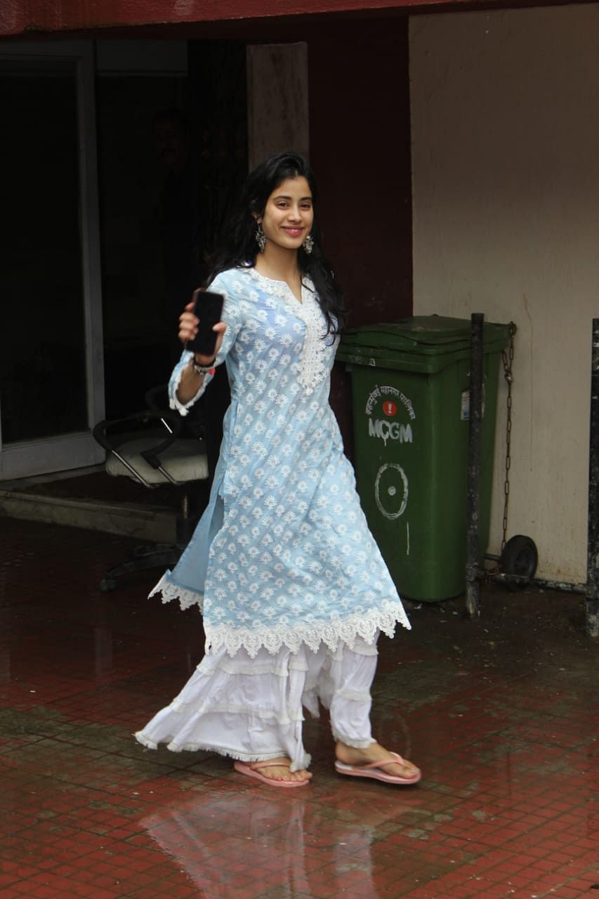 Janhvi Kapoor in a blue and white salvar snapped outside Pilates