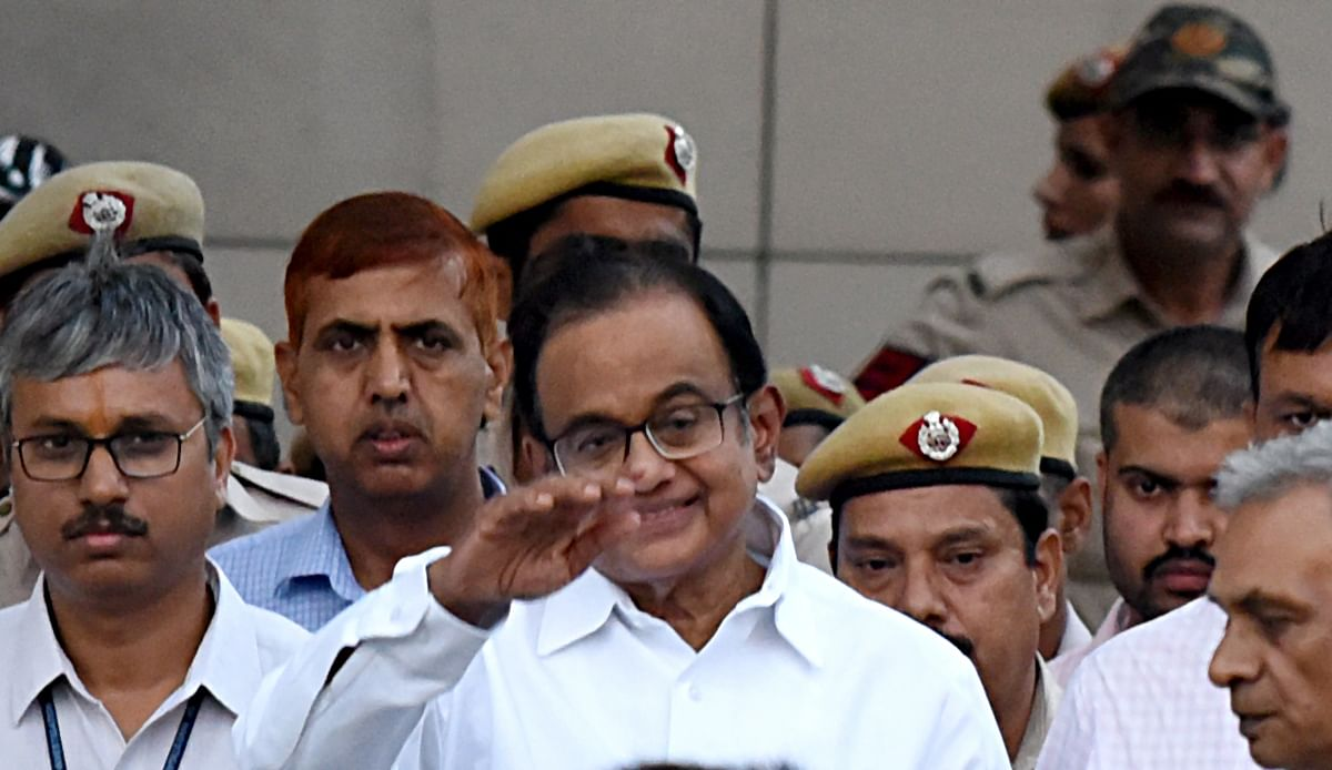 Former Finance Minister P. Chidambaram leaves from Rouse Avenue Court after hearing in INX media case in New Delhi