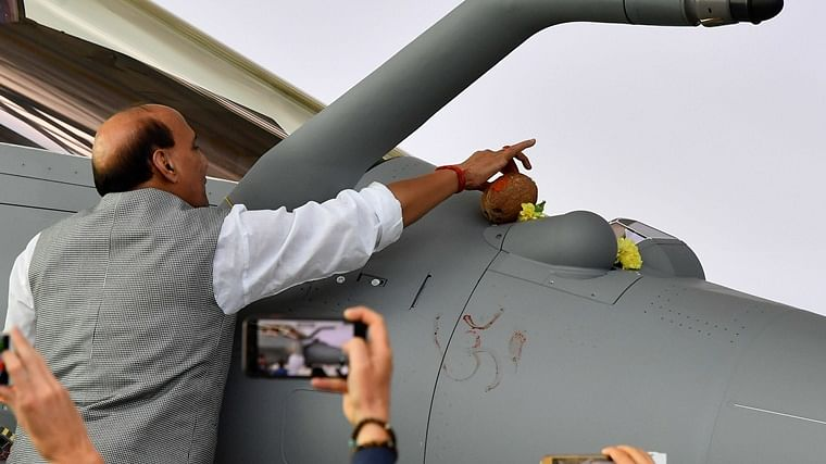 'Om' inscribed on aircraft in no way communal: Rajnath Singh defends performing 'shastra puja' on Rafale jet