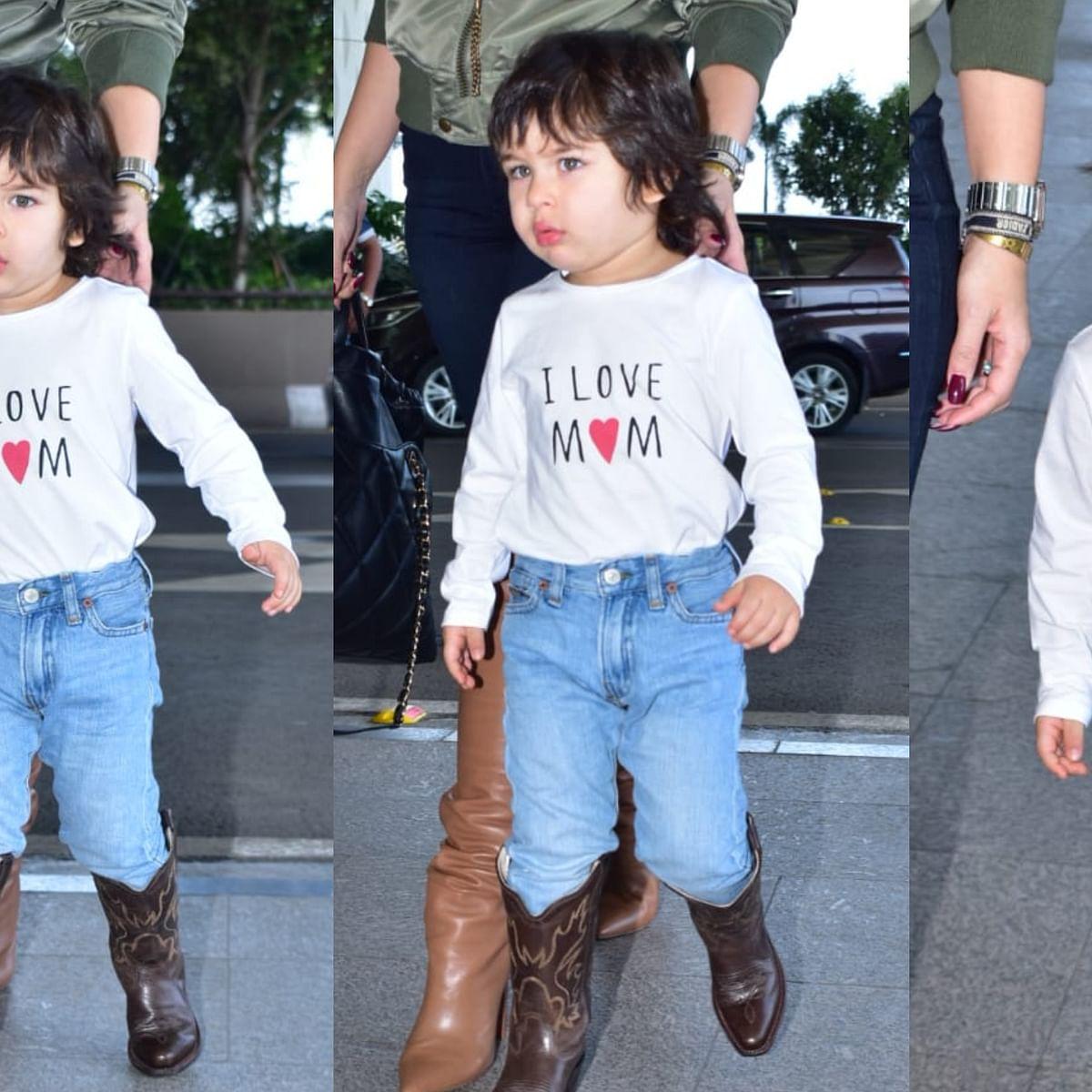 Kareena must be proud as Taimur sports 'I Love Mom' t-shirt on airport