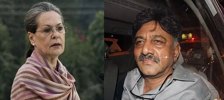 (from left) Congress president Sonia Gandhi and Congress leader D K Shivkumar