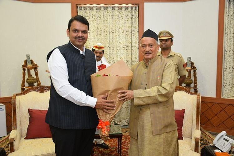 Maharashtra Chief Minister Devendra Fadnavis with Governor Bhagat Singh Koshyari