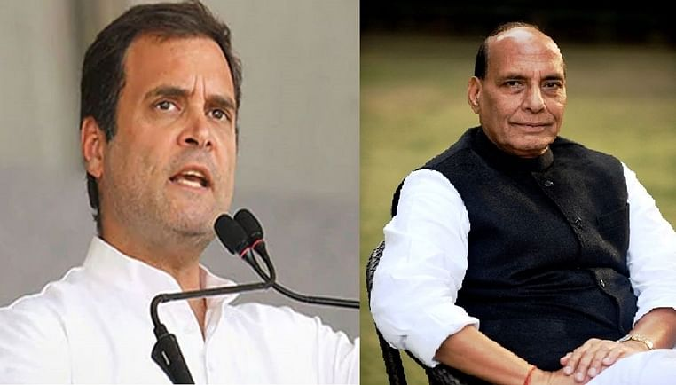 (from left)Congress leader Rahul Gandhi and Defence Minister Rajnath Singh