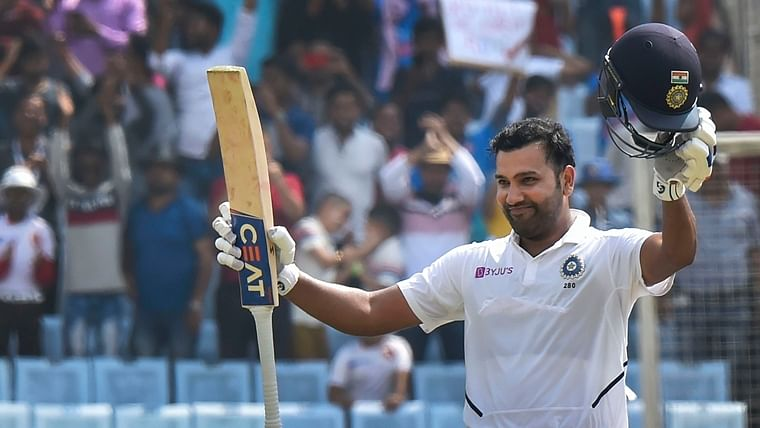 Rohit Sharma celebrates his double century during 2nd day of the 3rd cricket test match against South Africa at JSCA Stadium in Ranchi