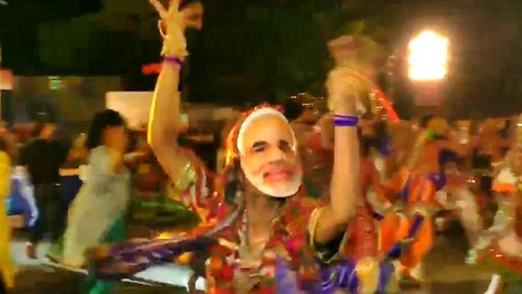 Video: People wear Modi masks while performing 'Garba' in Gujarat