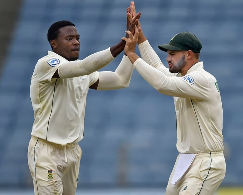 Pune: South Africa cricketer Kagiso Rabada celebrates the dismissal of Indian cricketer Mayank Agarwal during the second India-South Africa cricket test match at Maharashtra Cricket Association Stadium, in Pune, Thursday, Oct. 10, 2019. (PTI Photo/Mitesh Bhuvad) (PTI10_10_2019_000090B)