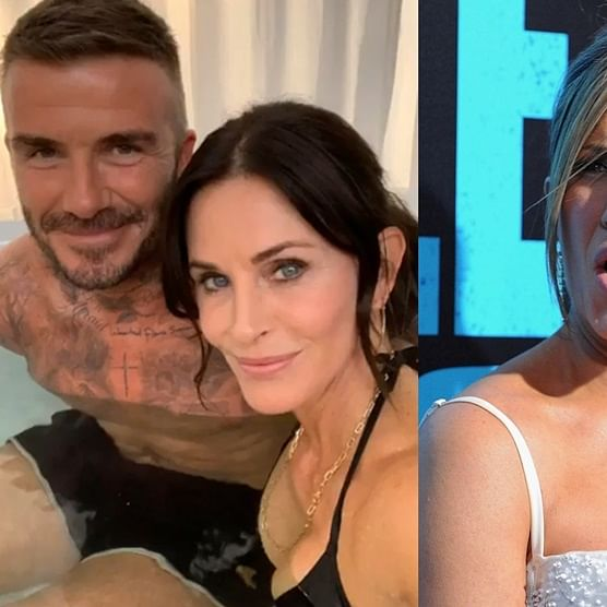 What's happening? Jennifer Aniston reacts to Courteney Cox chilling with David Beckham in a hot tub