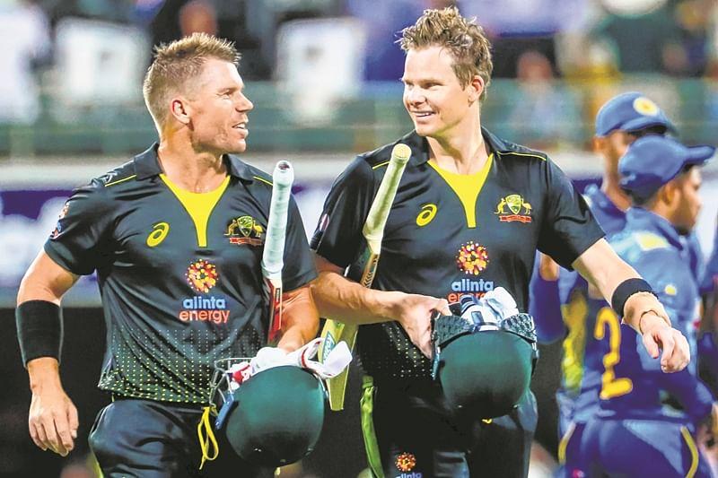David Warner and Steve Smith smashed half-centuries as Australia hammered Sri Lanka by nine wickets