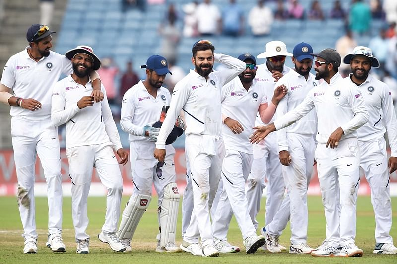 Pune: Indian cricket team players celebrate their victory during the day 4 of second India-South Africa cricket test match at Maharashtra Cricket Association Stadium in Pune, Sunday, Oct. 13, 2019. (PTI Photo/Mitesh Bhuvad)(PTI10_13_2019_000086B)