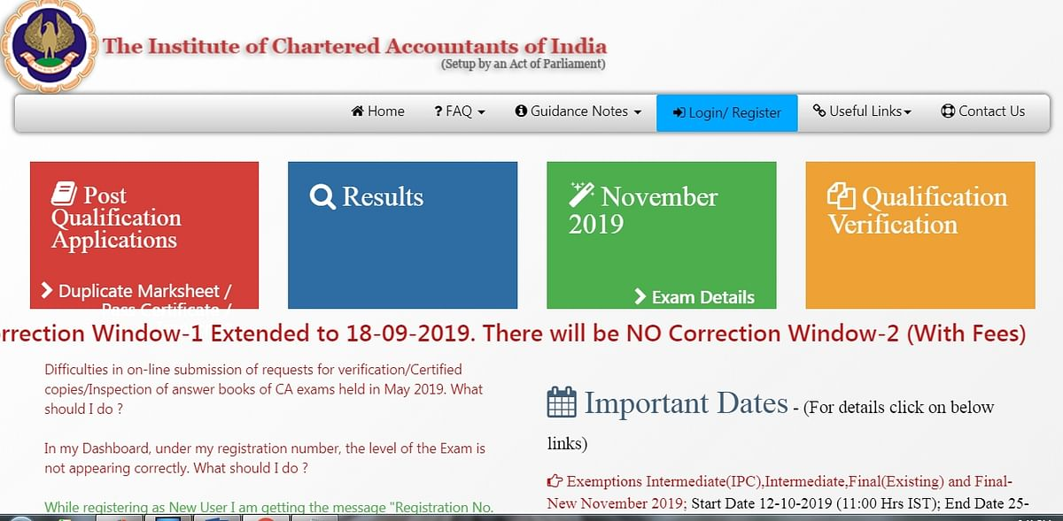 ICAI CA November 2019 admit card released, check at icaiexam.icai.org