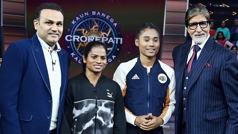 Fit and fine: Amitabh Bachchan shoots for KBCwith Dutee Chand, Virender Sehwag, Hima Das post-discharge