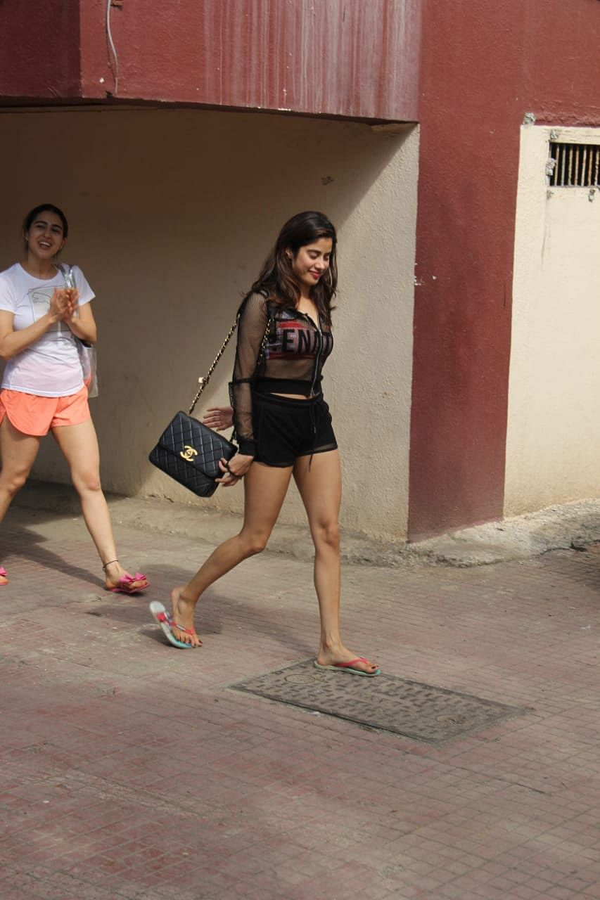 Image result for Janhvi Kapoor Wears a Sports Bra & Shorts WITH SARA ALI KHAN