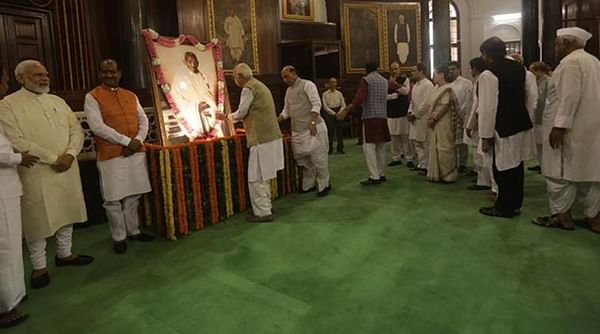 PM Narendra Modi, Sonia Gandhi pay tributes to Mahatma Gandhi in Parliament