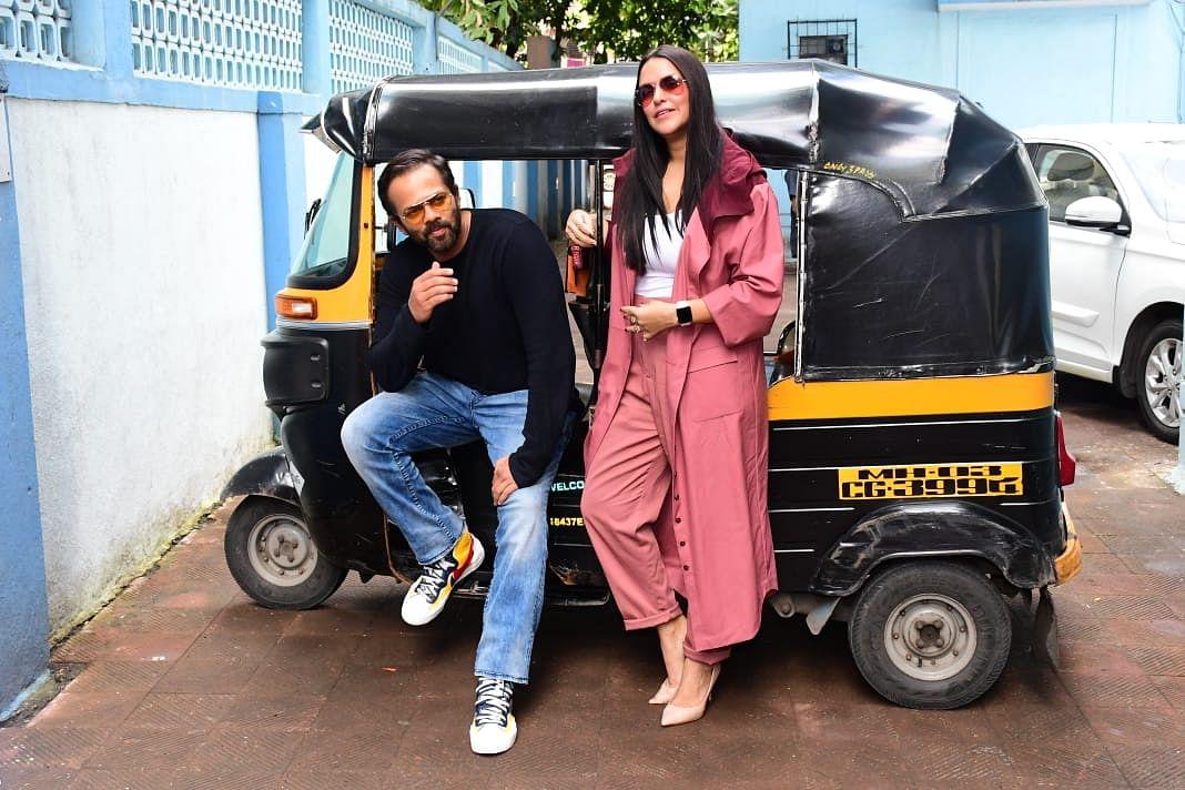 Rohit Shetty with 'No Filter Neha' host Neha Dhupia