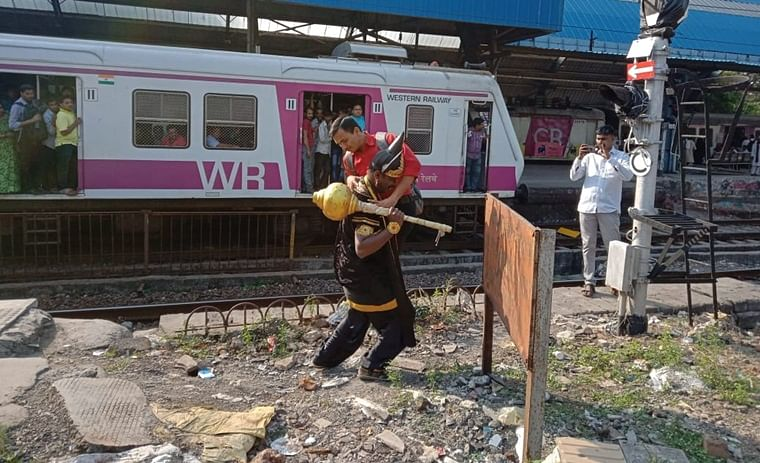 Western Railways deploys 'Yamaraj' to teach local train commuters about dangers of crossing tracks