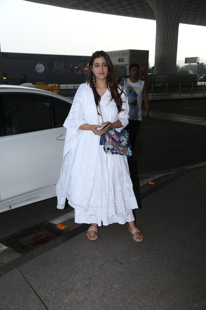 Nupur Sanon makes her airport fashion debut in a pristine white anarkali suit