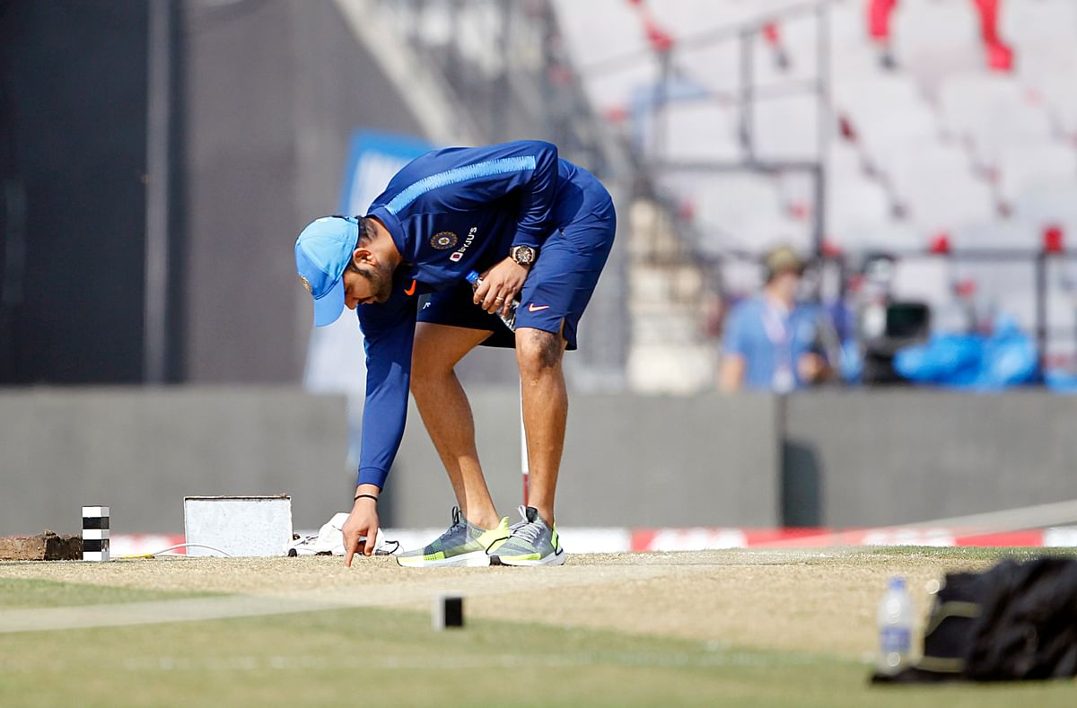 Indian captain Rohit Sharma during the practice session at Vidarbha Cricket Association Stadium in Nagpur on Saturday.