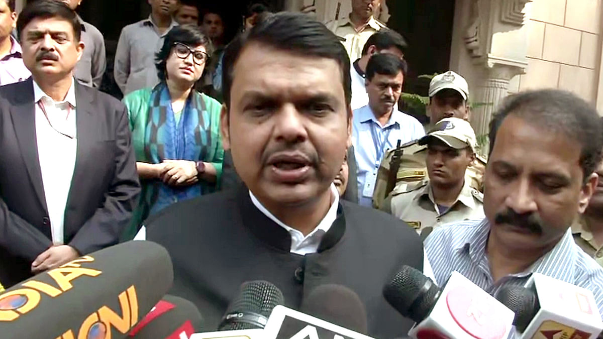Maharashtra Chief Minister Devendra Fadnavis speaks to media in New Delhi.