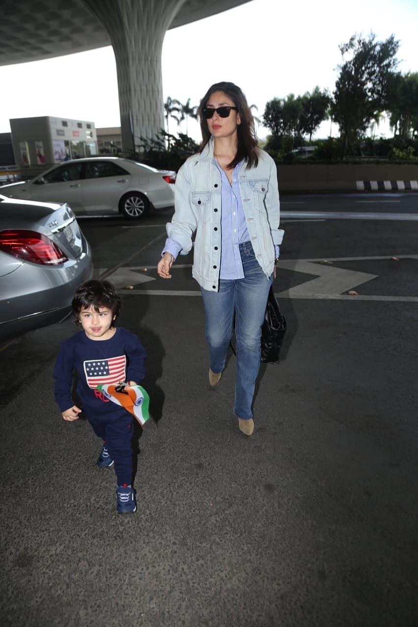 Kareena Kapoor Khan and Taimur Ali Khan at Mumbai airport