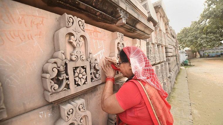 Ayodhya: A devotee prays at Ramjanmabhoomi Nyas kaaryashala in Ayodhya.