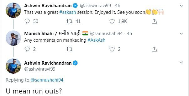 Oh, you mean run outs?': R Ashwin Mankands Twitter user during #AskAsh