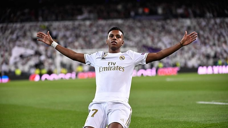 Real Madrid's Brazilian forward Rodrygo celebrates after scoring during the UEFA Champions League Group A football match between Real Madrid and Galatasaray at the Santiago Bernabeu stadium in Madrid, on November 6, 2019. (Photo by PIERRE-PHILIPPE MARCOU / AFP)