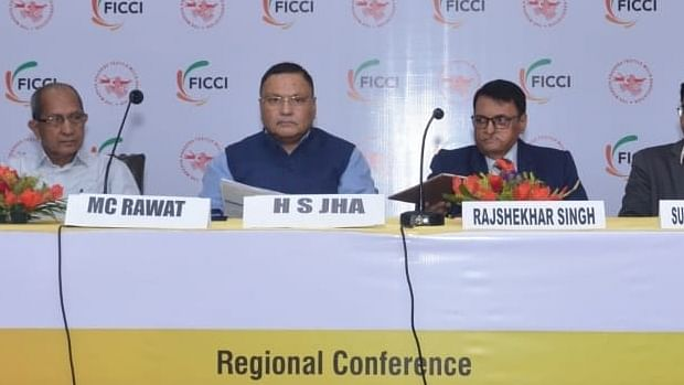 Rajshekhar Singh (second from right), Director, Directorate of Industrial Health & Safety (DIHS), Government of Madhya Pradeshaddressing a regional conference here on Thursday. MC Rawat from MPTMA, HS Jha, Vice President (HR) Pratibha Syntex Ltd. and Surender Kumar Verma, Joint Director, FICCIwere also present.