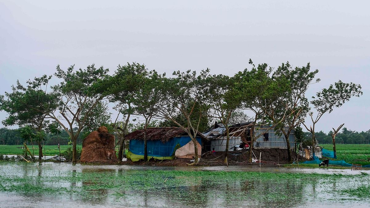 A damaged house is pictured after cyclone Bulbul hit the area in Koyra, some 100 km from Khulna on November 10, 2019.