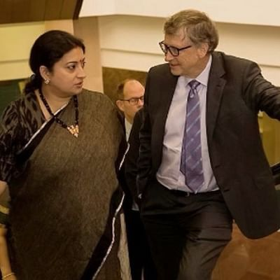 Smriti Irani cracks hilarious dropout joke next to Bill Gates, even Ekta Kapoor can't keep calm