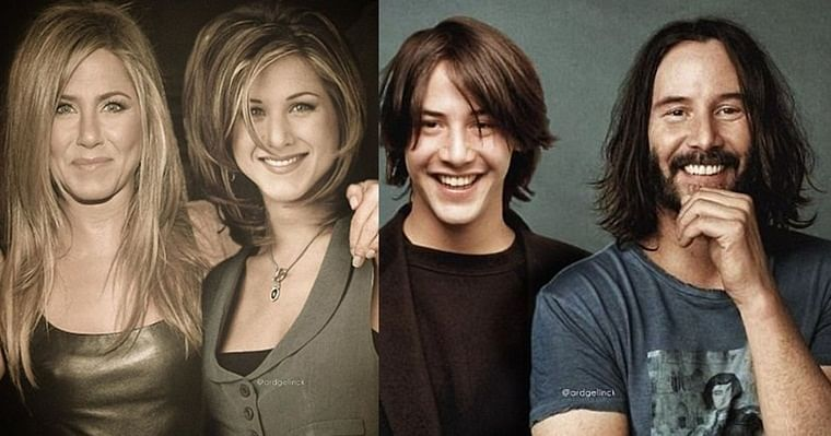 Jennifer Aniston to Keanu Reeves- Designer Photoshops throwback pics of celebs next to recent ones - Free Press Journal